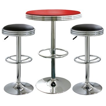 Diner Style Bar Stool (AmeriHome Kitchen Bar Game Room 3 Piece Soda Fountain Style Bar Set Black Red)
