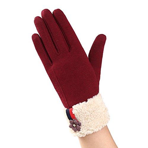 ミキサー絶えずテープTAKIの部屋 手袋 レディース スマホ手袋 レザー裏起毛 冬 保温 暖かいアウトドア スマホ操作可能 タッチパネル グローブ レッド