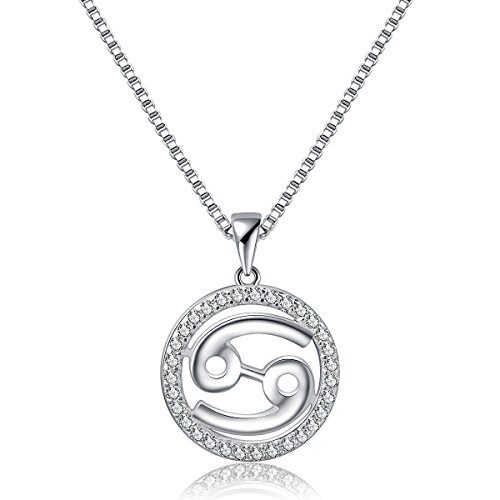 Zodiac Signs Pendant Necklace Cancer Charm Constellation Jewelry Womens Platinum Plated 925 Sterling Silver Box Chain, 18