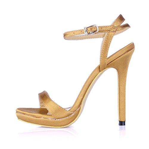 Eleganti alla Moda Alto Caviglia satin Oro a da Scarpe Cinturino Nuziale Spillo Sandali 1cm CHAU Piattaforma Tacco Sposa CHMILE Partito Donna Zxqp7nPwgA