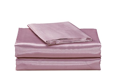 EliteHomeProducts EHP Super Soft and Silky Satin Sheet Set (Solid/Deep Pocket) (Full, Light (Soft Pink Satin)