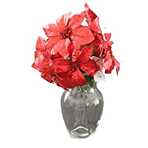 Set of 2 14″ Sparkling Christmas Bush with Artificial 6″ Poinsettia Flowers (Red)