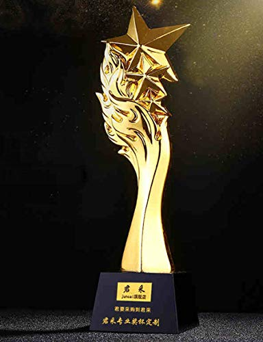 SryWj Creative Trophy Sparkling Gold-Plated Resin Trophy Custom Company Annual Meeting Award Trophy Making Lettering