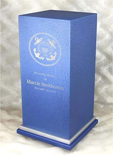 - PERSONALIZED Engraved US Coast Guard Cremation Urn for Human Ashes -Made in America-Handcrafted in the USA by Amaranthine Urns- Eaton SE- Adult Funeral Urn-up to 200 lbs living weight (Celestial Blue)