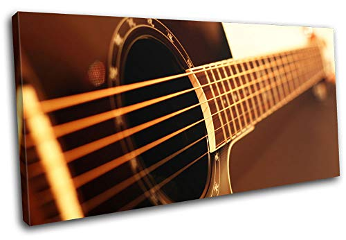 Bold Bloc Design - Guitar Instruments Acoustic Brown Musical 80x40cm Single Canvas Art Print Box Framed Picture Wall Hanging - Hand Made in The UK - Framed and Ready to Hang RC-0988(00B)-SG21-LO-A
