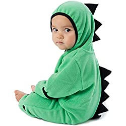 Funzies Baby Bunting Fleece Hooded Romper Bodysuit (DinoGreen/Black3-6m)