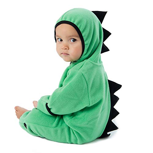 - Funzies Baby Bunting Fleece Hooded Romper Bodysuit (DinoGreen/Black0-3m)