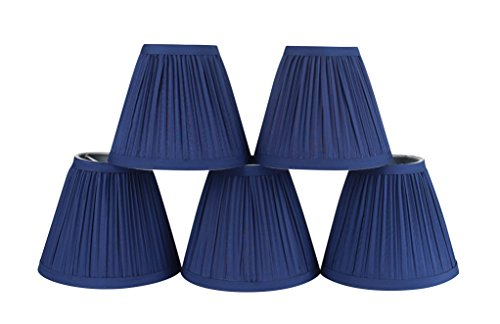 - Urbanest Set of 5 Chandelier Lamp Shade, 3-inch top by 6-inch by 5-inch, Random Mushroom Pleat, Navy Blue, Hardback, Clip-on