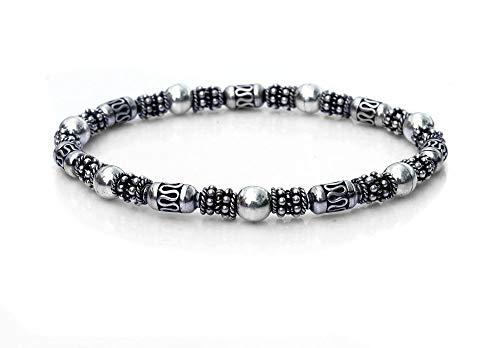 Sterling Silver Bracelet, Sterling Silver Bali Beads Bracelet, 6mm Sterling Silver -