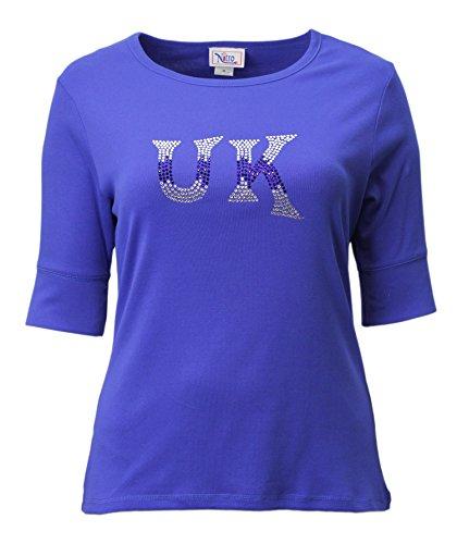 Nitro USA NCAA Kentucky Wildcats Women's Rhinestone UK Letter Fade-Half Sleeve Top, 2X, Royal