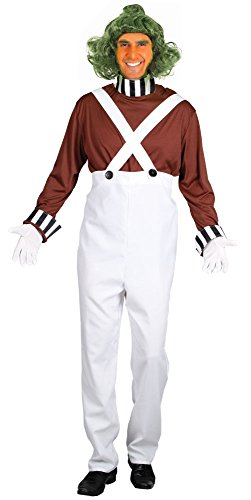 Oompa Loompa Factory Worker Costume (Mega Fancy Dress Men's Oompa Loompa Costume And Wig Willy Wonka Worker Men: Small White)