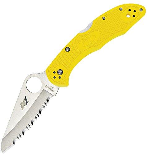 Spyderco Salt 2 Folder Lightweight Yellow Serrated Flooding Knife, Black