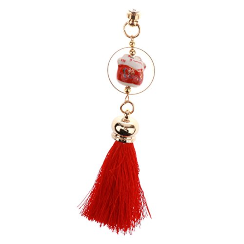 Baoblaze Cat Shape Keychain Tassel Pendant Car Handbag for women gifts - red (Red Shape Car)