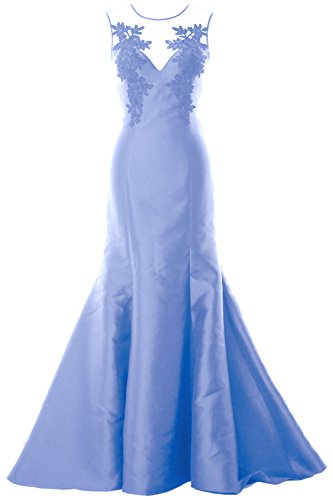 Illusion Formal Satin Gown Dress MACloth Evening Lace Women Party Himmelblau Straps Mermaid qAqpXw8