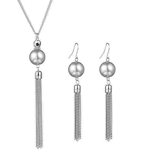 Long Tassel Pearl Jewelry Set - Beaded Dangle Necklace Earrings Fashion Jewelry with Silver Chain, Gifts for Women Girls (Grey Necklace+Earrings)