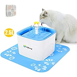isYoung Pet Water Fountain, 2.5L Super Quiet Automatic Electric Water Dispenser, Healthy and Hygienic Cat Drinking Fountain with 2 Replacement Filters for Dogs, Cat and Small Animals (Blue 2.5L)