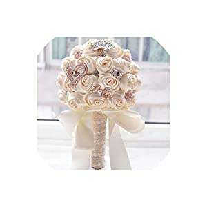 meet-you 8 Colors Gorgeous Wedding Flowers Bridal Bouquets Artificial Wedding Bouquet Crystal Sparkle with Pearls 40