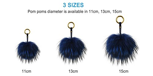 Ferand Genuine Raccoon Fur Pom Pom Keychain Women's Bag Charm Fluffy Fur Ball, Navy blue