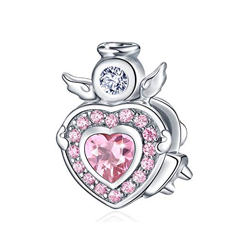 - FOREVER QUEEN Angel Charms for Pandora Bracelet Necklace, 925 Sterling Silver Angel Wings Heart Bead Charms, Lucky Charms with 5A Cubic Zirconias, Mother Wife Jewelry Gifts
