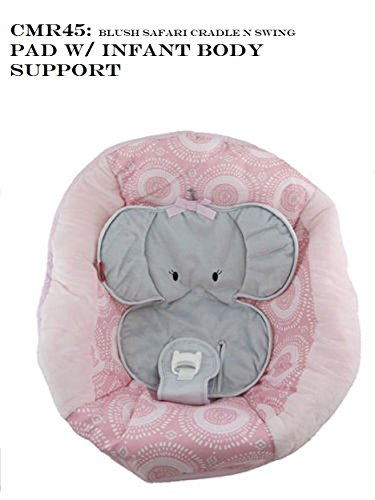 Fisher Price SWING Replacement Seat Pad Infant Body Support Straps Canopy Rod , CMR45 / PAD - BLUSH SAFARI CRADLE SWING
