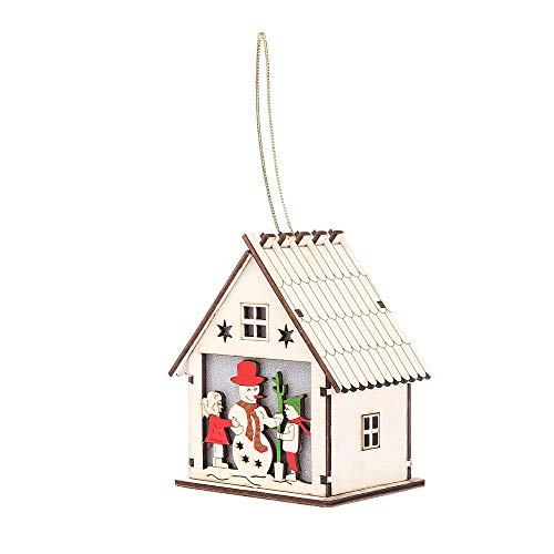 Christmas Tree Lights,LED Light Wood House with Reindeer Sign Decorations for Stores, Xmas, Holidays, Party, Gallery,Wedding,Battery Operated (Color The Snowman)