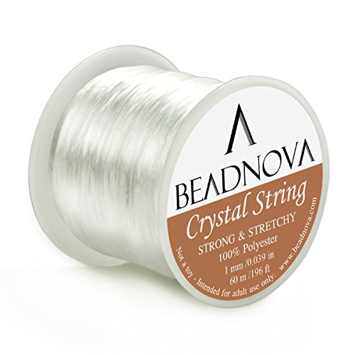 BEADNOVA 1mm Elastic Stretch Polyester Jewelry Bracelet Crystal String Cord 60m Roll (Clear White)
