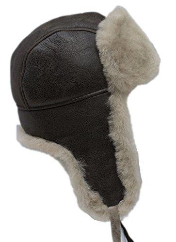 (buyfurhat Women's Trapper Ushanka Aviator Russian Sheepskin Hat (L, Beige))