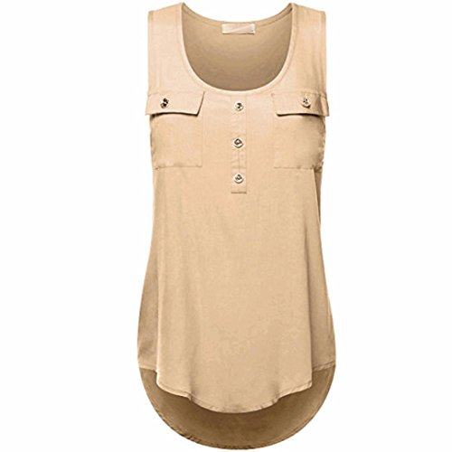 (Kulywon Women's Plus Size T Shirt Scoop Neck Sleeveless Sexy Lace Back Tank Tops Khaki)
