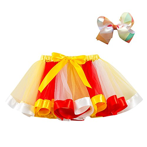 Halloween Clothes Girls Kids Tutu Cute Party Dance Dress Ballet Party Toddler Baby Skirt+Bow Hairpin Set (M :5-7 Years Old, Yellow 3) ()