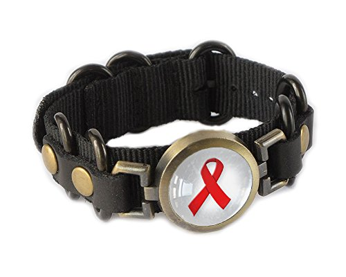 Awareness Ribbon Bracelet Wristband - (Red Awareness Ribbon Bracelet)