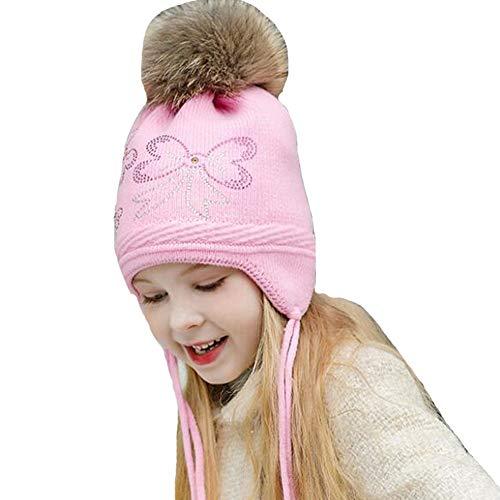 Monimona Girls Earflap Hat Winter Kids Knitted Hat Thicken Velvet Lining Cap Pink