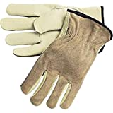 Industry Grade Split Leather Drivers Gloves with Grain Palms - One Pair