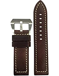 24mm XL Panatime Sheriff Vintage Genuine Leather Watch Strap with White Stitching 24/24 135/85