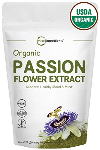 Organic Passion Flower Extract Powder, 8 Ounce, Strongly Supports Stress Relief, Relaxation, Memory, Sleep and Energy, No GMOs and Vegan Friendly