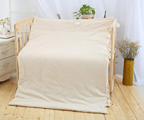 Baby Organic Cotton Comforter (Toddler Cradle Quilt-100% Organic Cotton Spring Comforter,Soft Baby Bed Quilt,Breathable Blanket,Machine Washable,Light Brown, 39.3