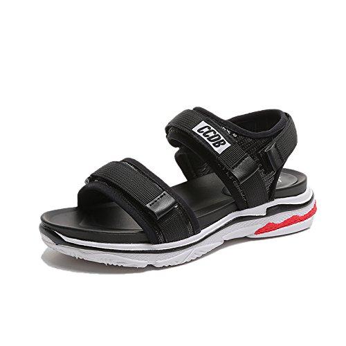 spiaggia scarpe studenti femminili Black ITTXTTI selvatici sandali estate signora sandali piattaforma 1 all'aperto qxTnWZCT