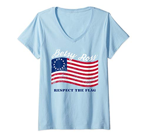 Womens Vintage Betsy Ross American Flag Shirt Art-13 Stars Flag V-Neck T-Shirt