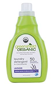 Greenshield Organic, Usda Organic Lavender Liquid Laundry Detergent, 50-Ounces (Pack of 4)