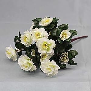 Lopkey Outdoor Indoor Silk Flower Artificial Red Azalea Bush 4pcs 4