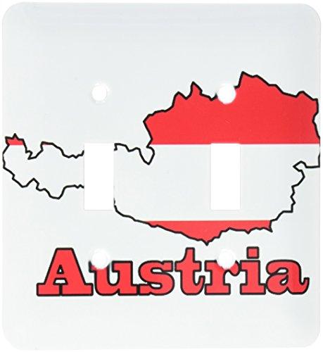 3dRose LSP 57048_ 2de la bandera de Austria en el contorno mapa y nombre del País Austria doble interruptor de palanca