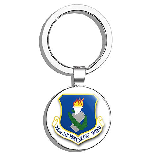 - HJ Media US Air Force 108th Air Refueling Wing Military Veteran USA Pride Served Metal Round Metal Key Chain Keychain Key Ring