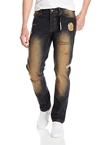 Southpole Men's Slim Straight Denim With Destructed and Embellished Patches, Dark Sand Tint, 38X30