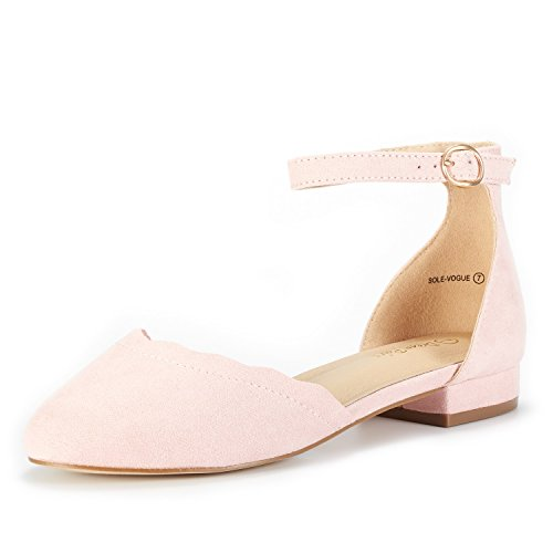 DREAM PAIRS Women's Sole_Vogue Pink Fashion Low Stacked Ankle Straps Flats Shoes Size 10 M US ()