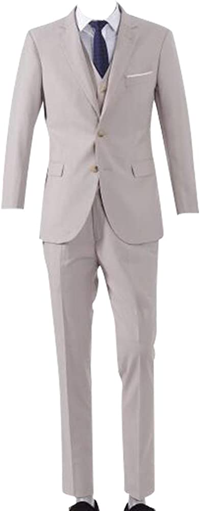 JacketVest+Pants HBDesign Mens 3 Piece 2 Button Slim Fit Casual Beige Suits