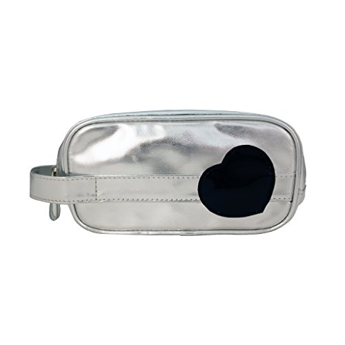 Mia Cosmetic bag brush bag with handle bag - Silver Metallic With Black Patent Heart; Silver Zipper; Silver Metallic Puller With Mia Logo; Waterproof Inside; 7.5