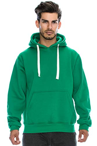 Plus Heavyweight Size T-shirt - JC DISTRO Plus Size Hipster Hip Hop Basic Heavyweight Pullover Hoodie Jacket Mho022_kgreen,XXXXXX-Large