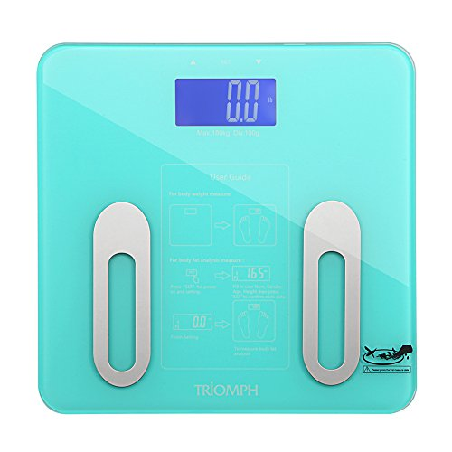 Triomph Digital BMI Body Fat Scale with Step-On Technology, 10 User Recognition, 400 lbs Capacity, Blue
