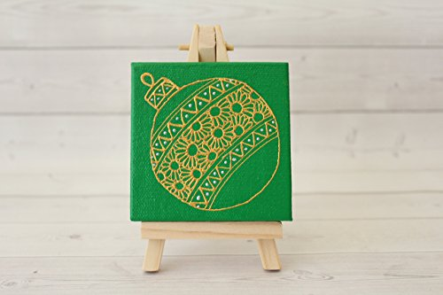 Hand Painted Green Golden Holiday Ornament Mini Easel Canvas Set