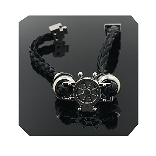 Omaras collection Ship Wheel Black Leather Bracelet for Men and Women-Durable Leather Bangle-Unisex Fashion Jewelry