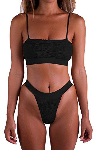 Pleated Bandeau - PinkWind Women's Bandeau Pleated Push up 2 Piece Sexy Bikini Triangle Swimsuit(L Black)